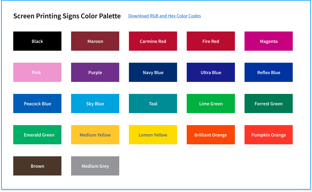 Screen Printing Signs Color Palette
