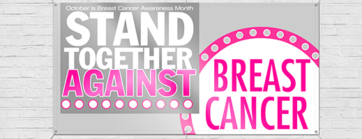 Breast Cancer Pink ribbon banner