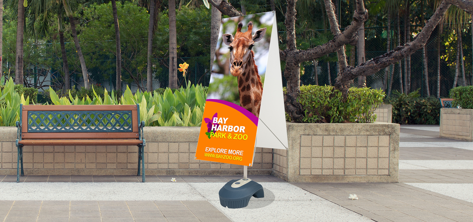 """60""""x24"""" Zephyr Banner Stand 2 Sided Display"""