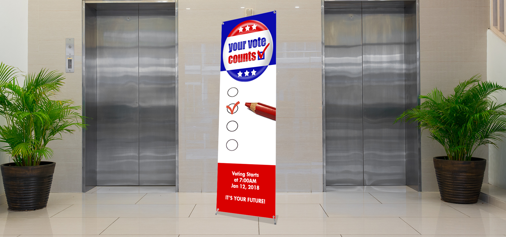 "71""x24"" X Stand Banner View"