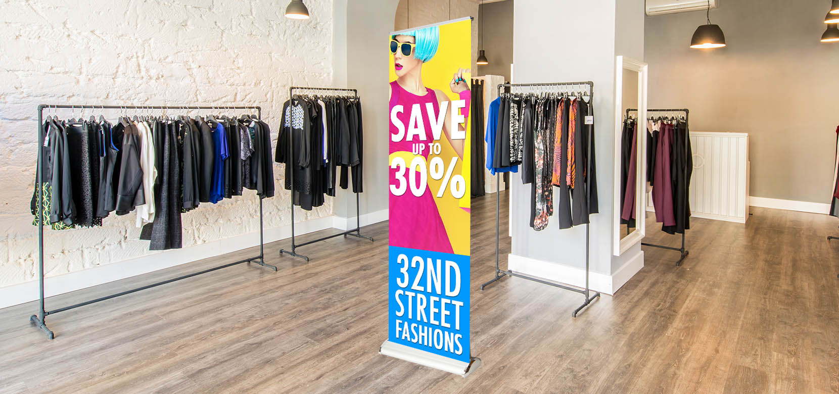 double step retractable banner sign