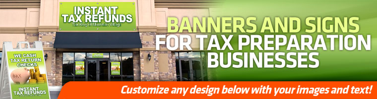 tax banners and signs