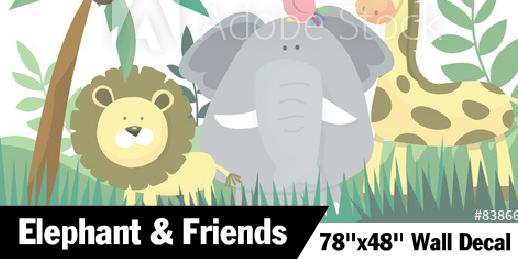 Elephant Themed Jungle Wall Decal