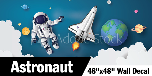 Shuttle Astronaut Above The Clouds Wall Decal