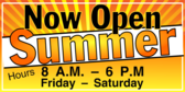 Summer Hours Open Sign