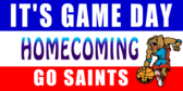 It's homecoming Game Day Sign