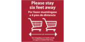 Carts Stay 6 Feet Away Social Distance Floor Sticker