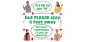Say Hi But Stay 6 Feet Away Floor Sticker
