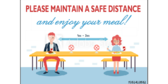 Maintain a Safe Cafeteria Seating Distance Sign