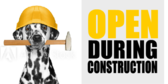 open during construction signs