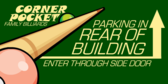 parking in the rear of building pool hall banner sign template