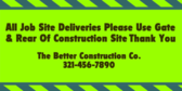 caution construction vehicles entering road banner sign template