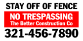 stay off of fence no trespassing banner sign template