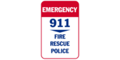 911 emergency fire, rescue, police banner sign template