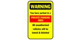 warning private parking area sign template